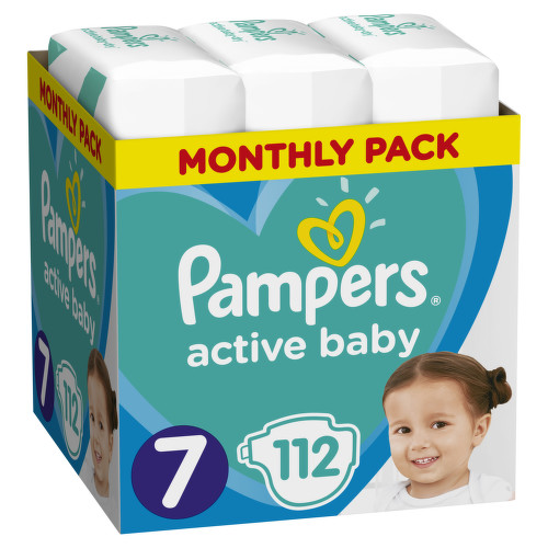 Pampers Active Baby Pleny S7 15+ kg Monthly Pack 112ks